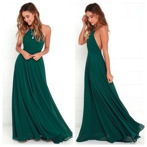 Lulus Mythical Kind of Love Dark Green Maxi Dress